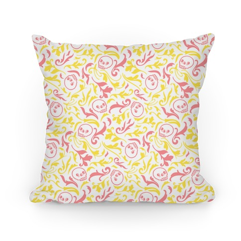 Filigree Flowers and Skulls Pattern Pillow
