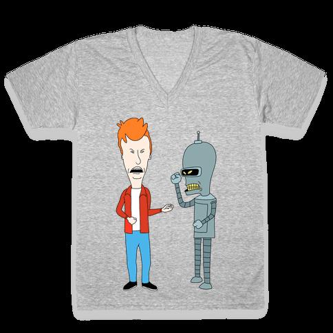 Fryhead and Bendvis V-Neck Tee Shirt