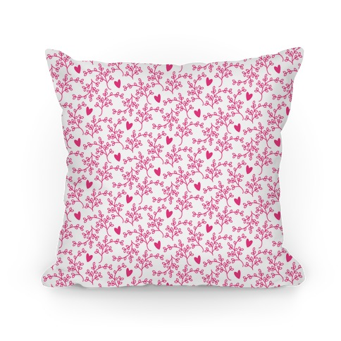 Hot Pink Floral Hearts Pattern Pillow