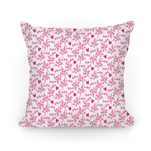 Hot Pink Floral Hearts Pattern
