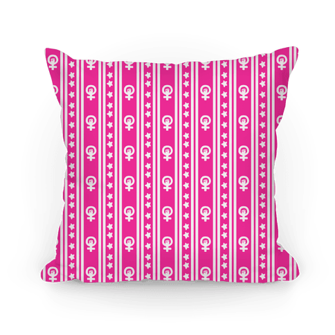 Pink Feminist Symbol Pattern Pillow