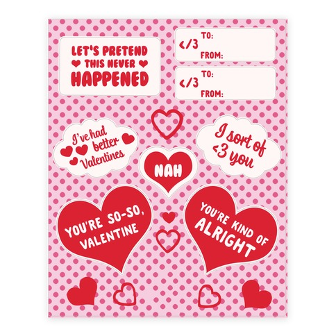Sassy Valentines Day Sticker and Decal Sheet