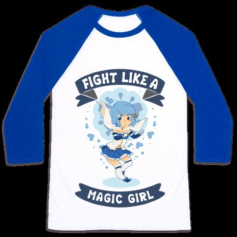 Fight Like A Magic Girl Parody Sayaka Baseball Tee