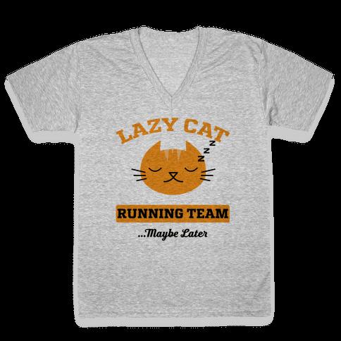 Lazy Cat Running Team V-Neck Tee Shirt