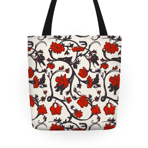 Little Red Riding Hood & Wolf Floral Pattern Tote