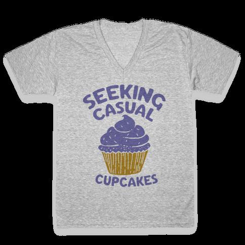 Seeking Casual Cupcakes V-Neck Tee Shirt