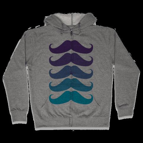 Cool Mustaches Zip Hoodie