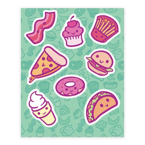 Cute Foods Sticker and Decal Sheet