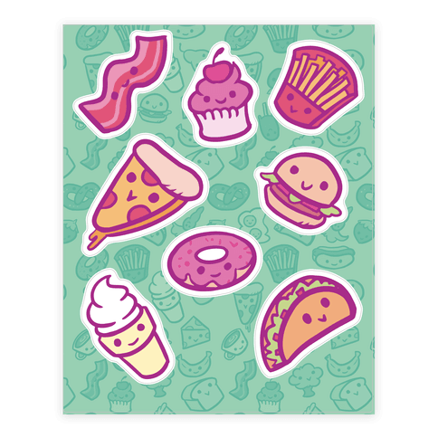 Cute Foods Sticker/Decal Sheet