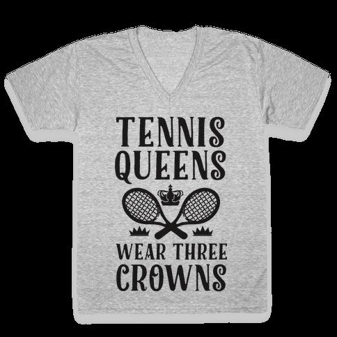 Tennis Queens Wear Three Crowns V-Neck Tee Shirt