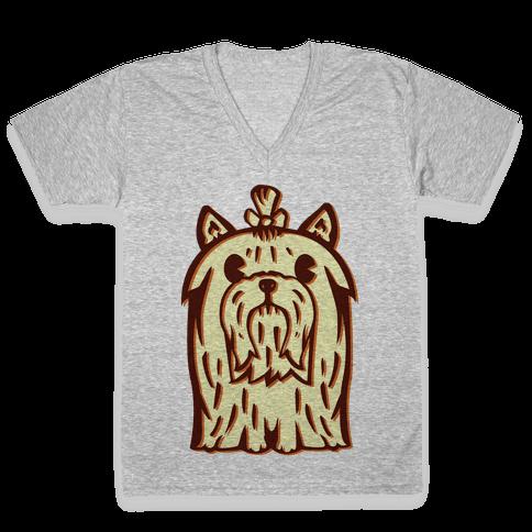 Yorkshire Terrier Vintage Illustration V-Neck Tee Shirt
