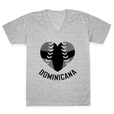 Dominican Baseball Love (Baseball Tee) V-Neck Tee Shirt
