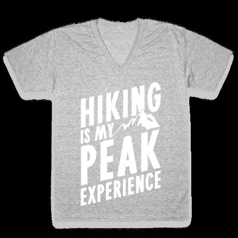 Hiking Is My Peak Experience V-Neck Tee Shirt
