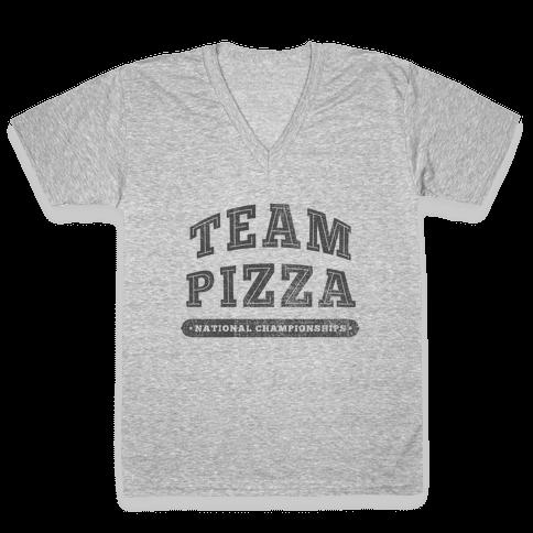 Team Pizza V-Neck Tee Shirt