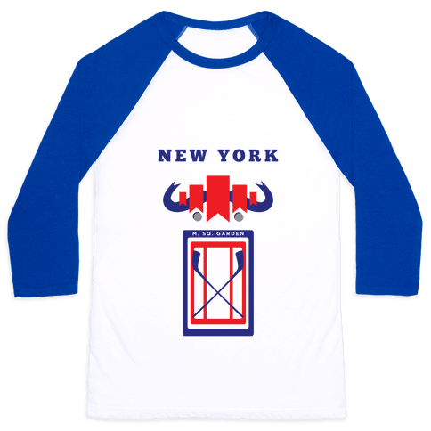 New York Stadium Hockey Fan Baseball Tee