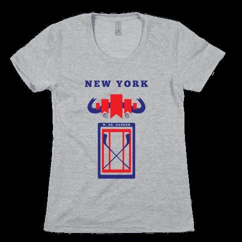 New York Stadium Hockey Fan Womens T-Shirt
