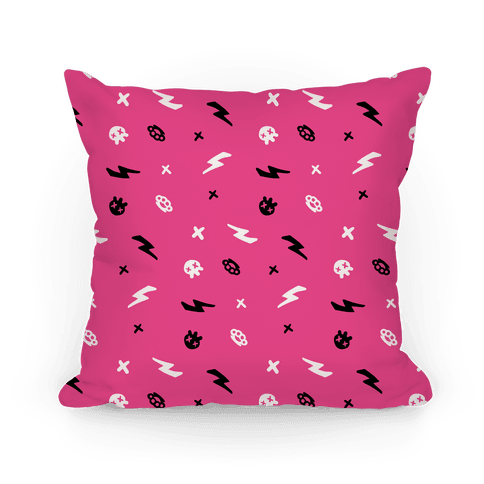 Punk Rock Pattern (Hot Pink) Pillow