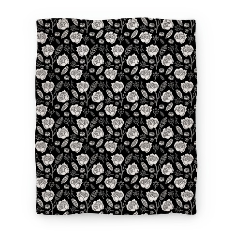 Floral and Leaves Pattern (Black) Blanket