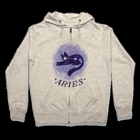 Cat Zodiac: Aries Zip Hoodie
