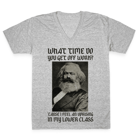Marx Pick Up Line V-Neck Tee Shirt