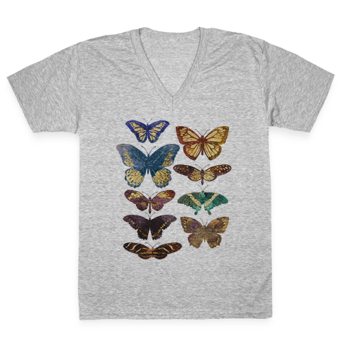 Butterfly Species V-Neck Tee Shirt