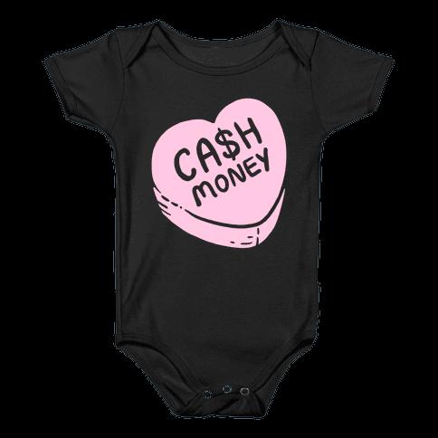 Cash Money Candy Heart Baby Onesy