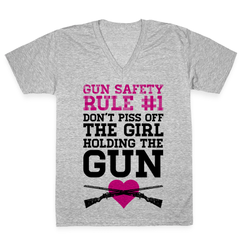 Gun Safety Rule #1 V-Neck Tee Shirt