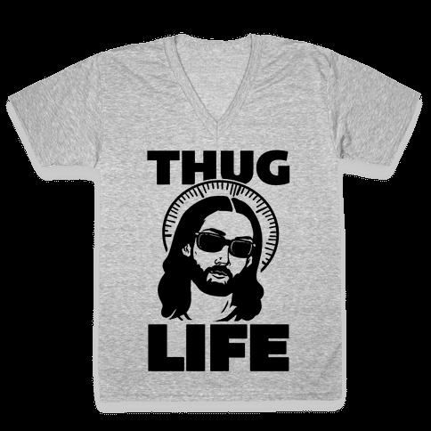 Thug Life Jesus V-Neck Tee Shirt