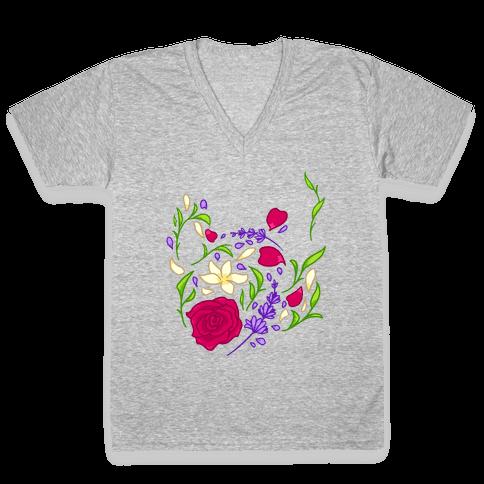 Floral Teapot V-Neck Tee Shirt