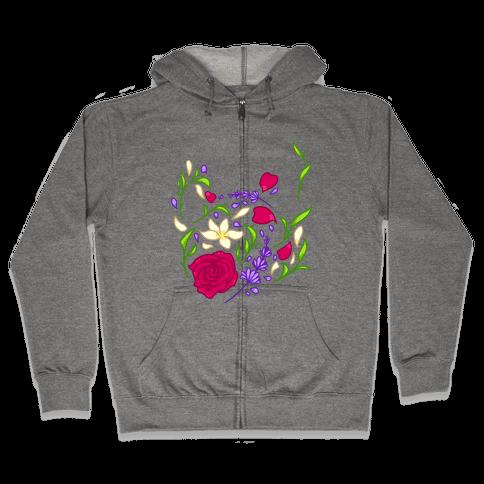 Floral Teapot Zip Hoodie