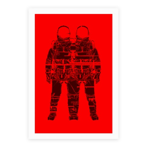 Twin Astronaut Glitch Poster Poster