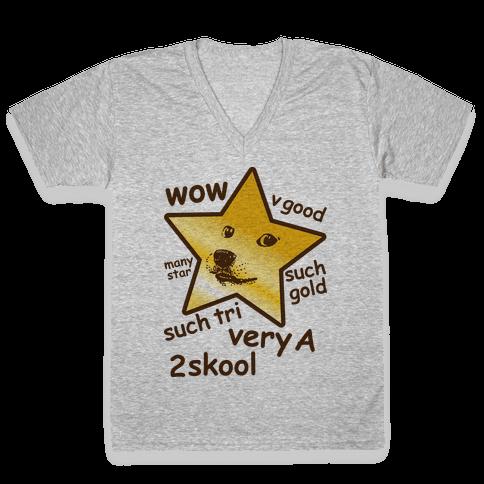 Gold Star Doge V-Neck Tee Shirt