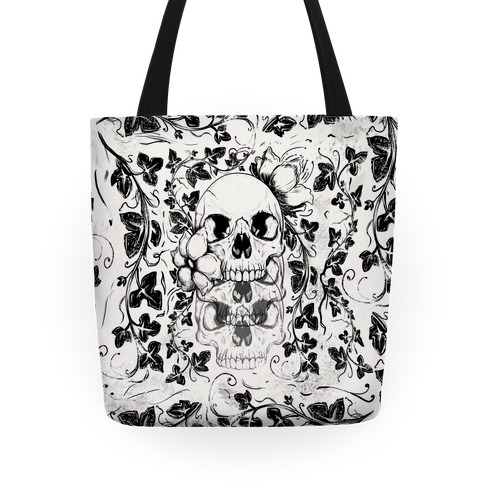 Skull of Vines and Flowers Tote