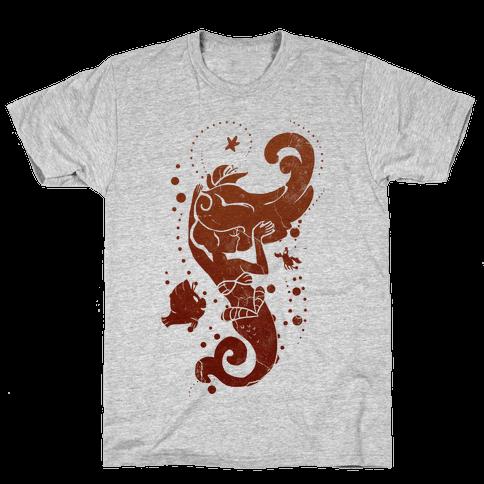 Coral Red Mermaid Princess Splash Mens T-Shirt