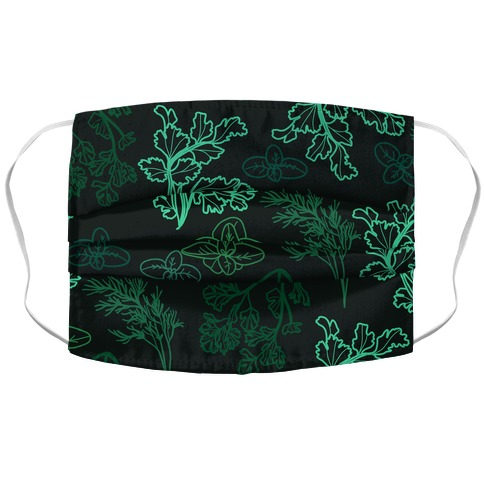 Green Herbs Pattern Accordion Face Mask