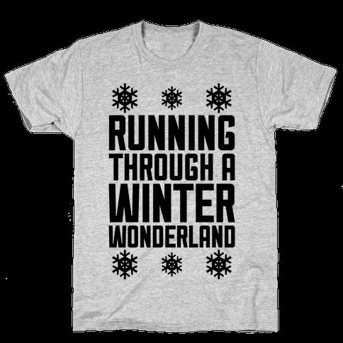 Running Through A Winter Wonderland Mens T-Shirt