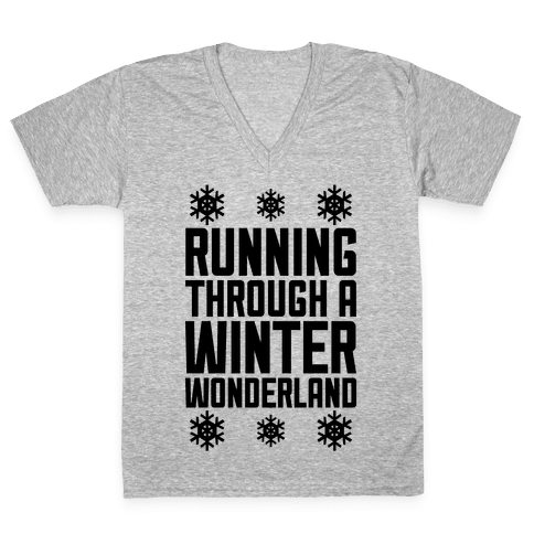 Running Through A Winter Wonderland V-Neck Tee Shirt
