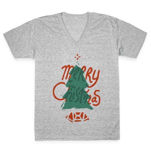 Merry Christmas Tree V-Neck Tee Shirt