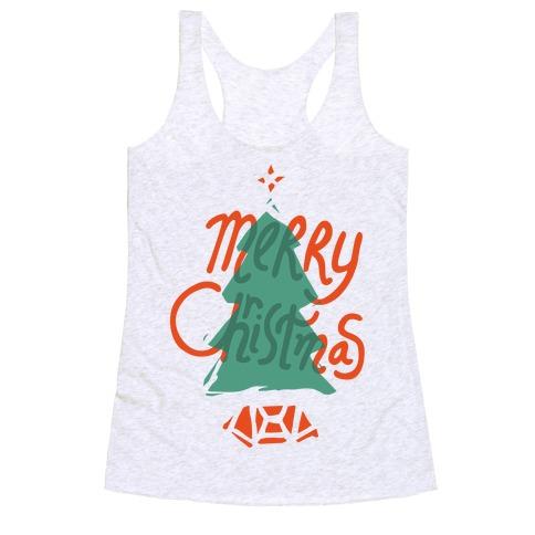 Merry Christmas Tree Racerback Tank Top