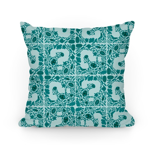 Floral Question Block Pillow
