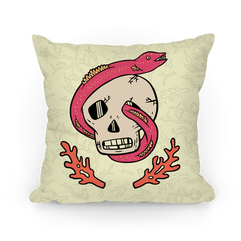 Skull and Coral Crossbones Pillow
