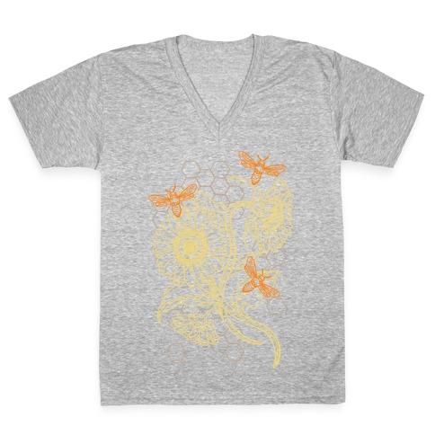 Honeybees & Sunflowers V-Neck Tee Shirt