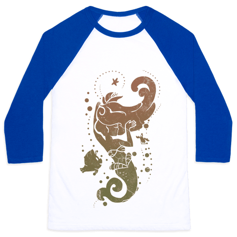 Natural Mermaid Princess Splash Baseball Tee