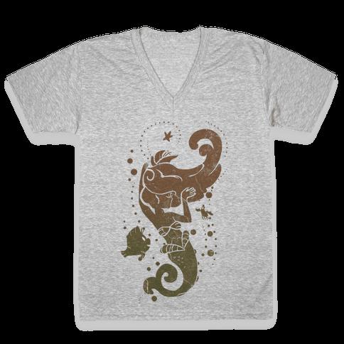 Natural Mermaid Princess Splash V-Neck Tee Shirt