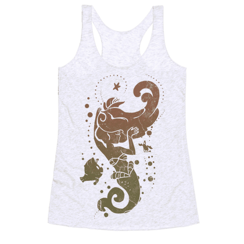 Natural Mermaid Princess Splash Racerback Tank Top