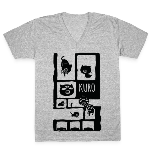 Kuro Cat V-Neck Tee Shirt