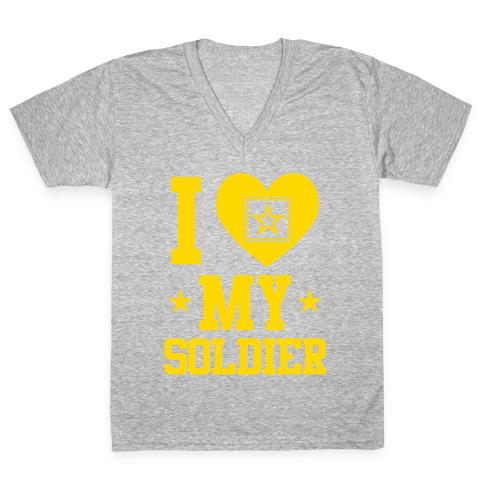 I Love My Soldier V-Neck Tee Shirt
