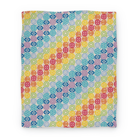 Watercolor Chakra Symbol Pattern Blanket