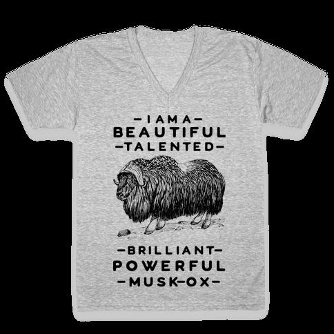 I Am A Beautiful Talented Brilliant Powerful Musk-Ox V-Neck Tee Shirt