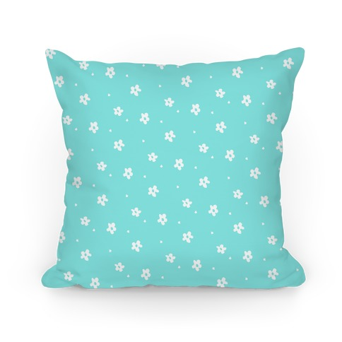 Blue Dainty Floral Pattern Pillow